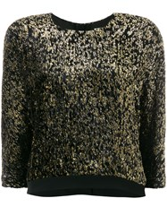 Lanvin Metallic Cropped Jumper Viscose Polyester Silk Black