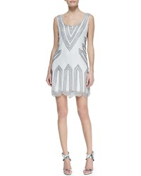 Phoebe Couture Sleeveless Scoop Neck Beaded Point Cocktail Dress White White Multi