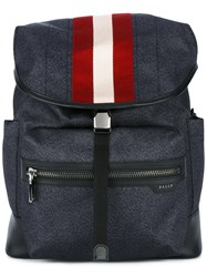 Bally Printed Tenzing Backpack Men Leather Nylon One Size Blue
