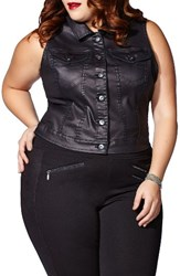 Mblm By Tess Holliday Plus Size Women's Coated Denim Vest