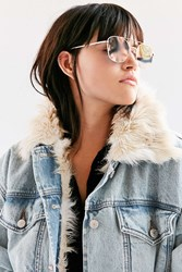 Urban Outfitters Sunset Metal Aviator Sunglasses Gold