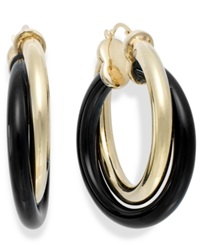 Signature Gold Onyx Twist Hoop Earrings In 14K Gold 25 3 4 Ct. T.W. Yellow Gold
