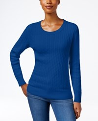 Karen Scott Crew Neck Cable Knit Sweater Only At Macy's Bright Blue