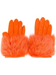 Paloma Barcelo Faux Fur Gloves Yellow Orange