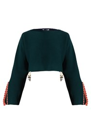 Toga Whipstitch Trimmed Cotton Blend Cropped Sweater Dark Green