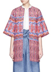 Stella Jean 'Questore' Tweed Print Cotton Hopsack Coat Multi Colour