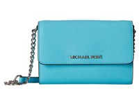 Michael Michael Kors Jet Set Travel Large Phone Crossbody Aquamarine Cross Body Handbags Blue