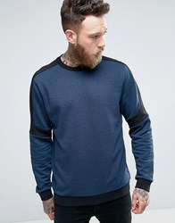 Hugo By Boss Dunion Sweat Contrast Panels In Navy Black Navy Black