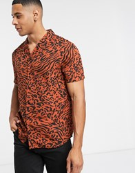 Another Influence Revere Collar Shirt In Crepe Animal Red