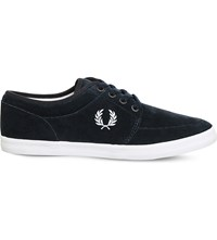 Fred Perry Stratford Suede Low Top Trainers Navy Snow White