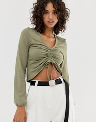 Noisy May Ruched Front Cropped Blouse Green