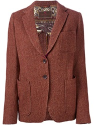 Etro Herringbone Pattern Blazer Red