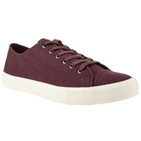 John Lewis Washed Canvas Lace Up Trainers Wine