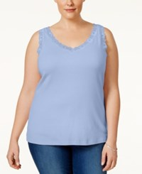 Karen Scott Plus Size Lace Trim Tank Top Only At Macy's Blue Whisper