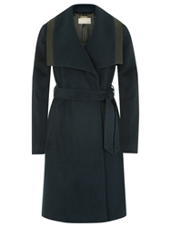 Planet Wrap Belted Coat Petrol