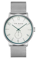 Ted Baker London Owen Mesh Strap Watch 42Mm White Stainless Steel