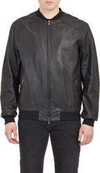 Lot 78 Leather Bomber Jacket Black