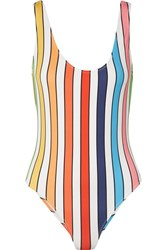 Caroline Constas Aristi Striped Swimsuit White