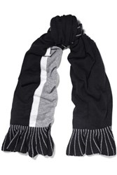 Magaschoni Ruffle Trimmed Color Block Cashmere Scarf Black