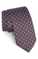 Eton Men's Floral Silk Tie Brown