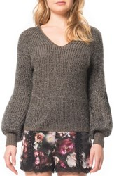 Willow And Clay Women's Puffed Sleeve Sweater Gunmetal