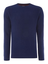 Linea Men's Amelie Vertical Rib Crew Neck Jumper French Navy