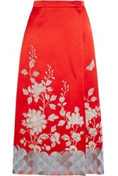 Gucci Embroidered Wrap Effect Silk Satin Skirt Crimson