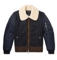 Moncler Plovan Shearling And Suede Trimmed Wool Blend And Shell Bomber Jacket Navy