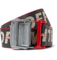 Off White 3.5Cm Dark Grey Industrial Logo Jacquard Webbing Belt Gray