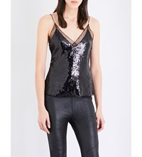 Free People Sassy Sequins Sequin Camisole Black