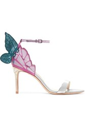 Sophia Webster Chiara Mirrored And Glittered Leather Sandals Silver