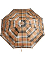 Burberry Vintage Check Folding Umbrella Yellow And Orange