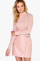 Boohoo Buckle Front Zip Detail Leather Look Mini Skirt Blush