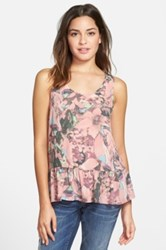 Frenchi R 'Easy' Floral Print Tank Juniors Pink