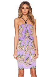 T Bags Losangeles Tie Front Halter Dress Purple