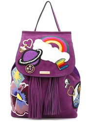 Marc Jacobs Patch Embroidery Backpack Pink Purple