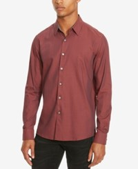 Kenneth Cole Reaction Men's Slim Fit Neat Long Sleeve Shirt Merlot