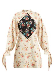 Christopher Kane Archive Floral Print Crepe Mini Dress Beige Print
