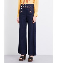 See By Chloe Button Detail Wide Leg High Rise Jeans Indigo