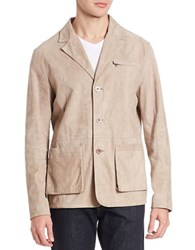 Robert Comstock Sude Button Down Jacket Ivory
