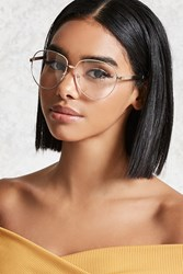 Forever 21 High Polish Aviator Readers Gold Clear