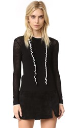 Shoshanna Nia Ruffle Sweater Black White