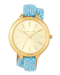 Michael Michael Kors 42Mm Slim Runway Wrap Watch W Leather Strap Gold Blue
