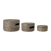 Bloomingville Round Striped Seagrass Baskets Set Of 3