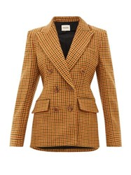 Khaite Darla Double Breasted Wool Gingham Blazer Brown Multi