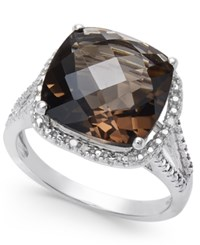 Macy's Semi Precious Gemstone 6 Ct. T.W. And Diamond Accent Ring In Sterling Silver Available In Blue Topaz Mystic Topaz Smoky Quartz Citrine And Green Amethyst Smoky Topaz