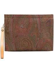 Etro Paisley Strap Clutch Red