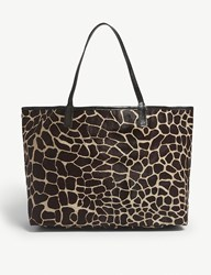 Mystique Amery Animal Print Hair And Leather Tote Giraffe