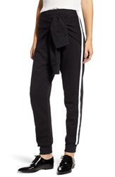French Connection Tied Sleeve Sweatpants Black White