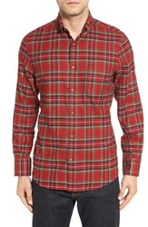 Nordstrom Men's Men's Shop Plaid Flannel Sport Shirt Red Saucy Yellow Tartan